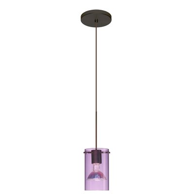 Scope 1 Light Mini Pendant Shade Color: Transparent Amethyst, Bulb Type: LED, Finish: Bronze