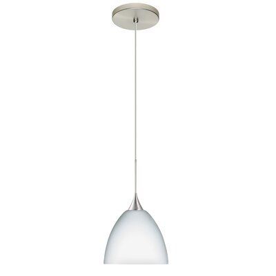 Sasha 1 Integrated Bulb Mini Pendant Finish: Satin Nickel, Shade Color: Opal Matte, Bulb Type: LED