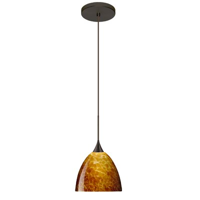 Sasha 1 Integrated Bulb Mini Pendant Finish: Bronze, Shade Color: Amber Cloud, Bulb Type: Halogen