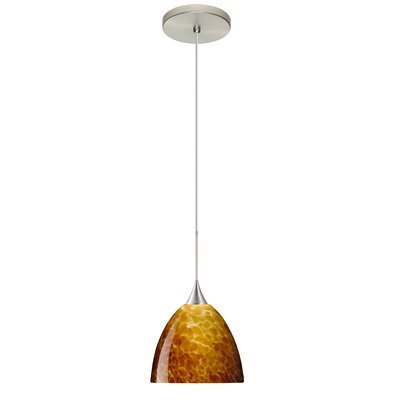 Sasha 1 Integrated Bulb Mini Pendant Finish: Satin Nickel, Shade Color: Amber Cloud, Bulb Type: Halogen