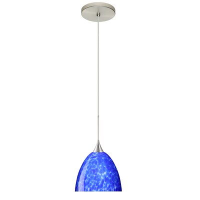 Sasha 1 Integrated Bulb Mini Pendant Finish: Satin Nickel, Shade Color: Blue Cloud, Bulb Type: Halogen