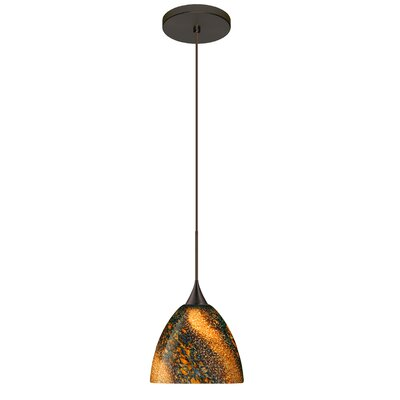 Sasha 1 LED Integrated Bulb Mini Pendant Finish: Bronze, Bulb Type: Halogen