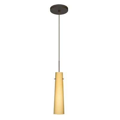 Camino 1 LED Integrated Bulb Mini Pendant Finish: Bronze, Bulb Type: Halogen, Shade Color: Vanilla Matte