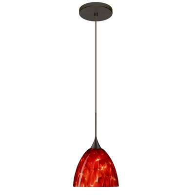 Sasha 1 LED Integrated Bulb Mini Pendant Finish: Bronze, Bulb Type: Halogen, Shade Color: Garnet