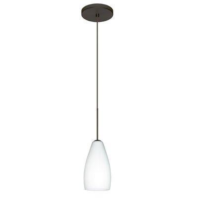 Karli 1-Light Mini Pendant Finish: Bronze, Shade Color: Opal Matte, Bulb Type: Halogen