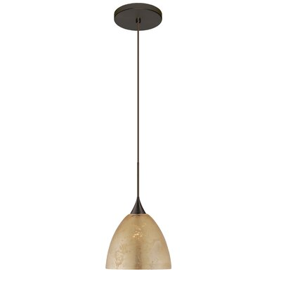 Sasha 1 LED Integrated Bulb Mini Pendant Finish: Bronze, Bulb Type: LED, Shade Color: Gold Foil