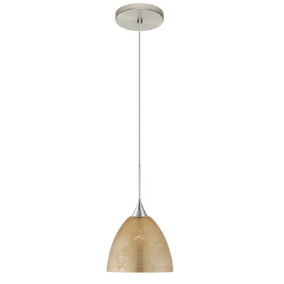 Sasha 1 Integrated Bulb Mini Pendant Finish: Satin Nickel, Shade Color: Gold Foil, Bulb Type: LED