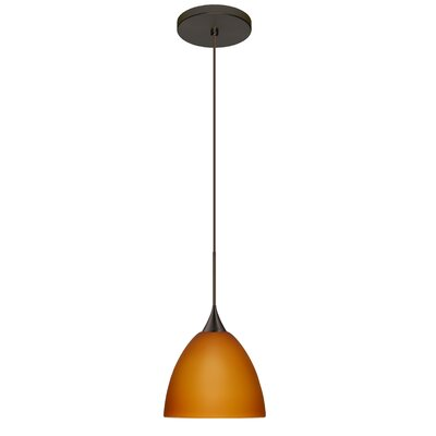 Sasha 1 Integrated Bulb Mini Pendant Finish: Bronze, Shade Color: Amber Matte, Bulb Type: Halogen