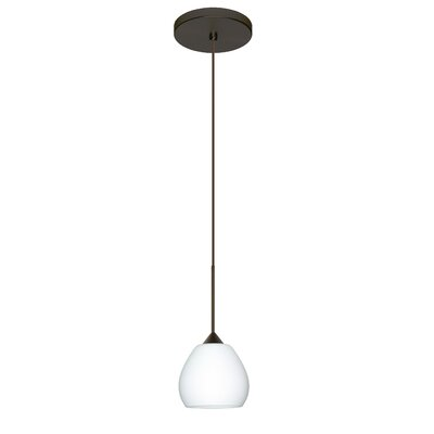 Tay Tay 1 Integrated Bulb Mini Pendant Finish: Bronze, Shade Color: Opal Matte, Bulb Type: Halogen