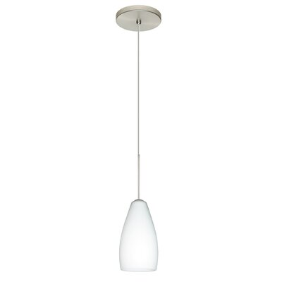 Karli 1-Light Mini Pendant Finish: Satin Nickel, Shade Color: Opal Matte, Bulb Type: LED