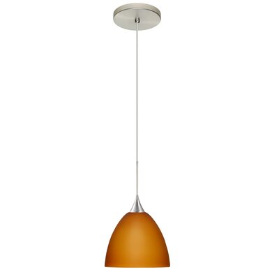 Sasha 1 Integrated Bulb Mini Pendant Finish: Satin Nickel, Shade Color: Amber Matte, Bulb Type: Halogen