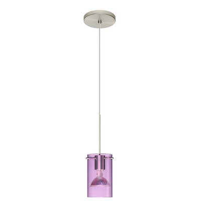 Scope 1 Light Mini Pendant Finish: Satin Nickel, Shade Color: Transparent Amethyst, Bulb Type: LED