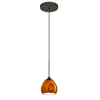 Tay Tay 1-Light Mini Pendant Finish: Bronze, Shade Color: Amber Cloud, Bulb Type: Halogen