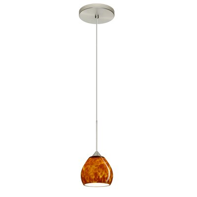 Tay Tay 1-Light Mini Pendant Bulb Type: LED, Finish: Satin Nickel, Shade Color: Amber Cloud