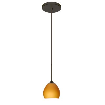 Tay Tay 1 Integrated Bulb Mini Pendant Finish: Bronze, Shade Color: Amber Matte, Bulb Type: Halogen