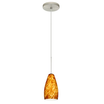 Karli 1 Integrated Bulb Mini Pendant Finish: Satin Nickel, Shade Color: Amber Cloud, Bulb Type: Halogen