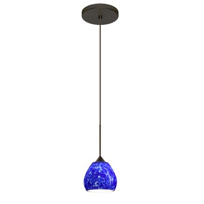 Tay Tay 1-Light Mini Pendant Finish: Bronze, Shade Color: Blue Cloud, Bulb Type: Halogen