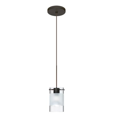 Scope 1-Light Mini Pendant Finish: Bronze, Bulb Type: Halogen, Shade Color: Clear/Frost