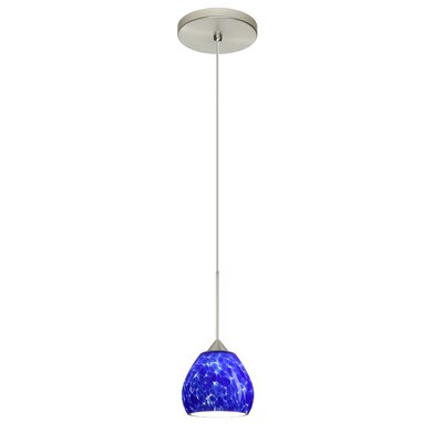Tay Tay 1-Light Mini Pendant Shade Color: Blue Cloud, Bulb Type: Halogen, Finish: Satin Nickel