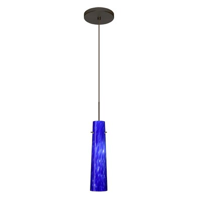 Camino 1 LED Integrated Bulb Mini Pendant Finish: Bronze, Bulb Type: Halogen, Shade Color: Blue Cloud