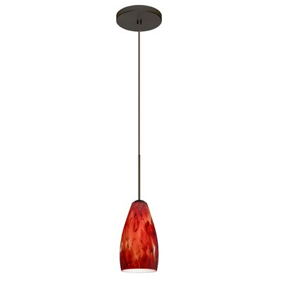 Karli 1 Integrated Bulb Mini Pendant Finish: Bronze, Shade Color: Garnet, Bulb Type: Halogen