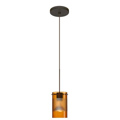 Scope 1-Light Mini Pendant Finish: Bronze, Bulb Type: LED, Shade Color: Armagnac/Frost