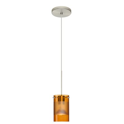 Scope 1-Light Mini Pendant Bulb Type: Halogen, Finish: Satin Nickel, Shade Color: Armagnac/Frost