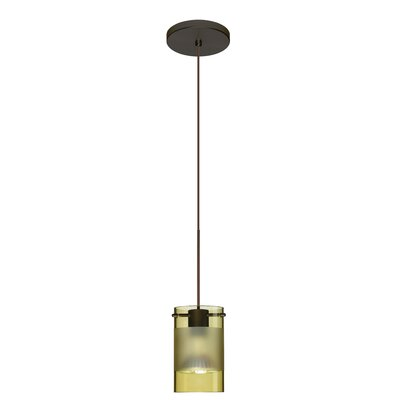 Scope 1-Light Mini Pendant Finish: Bronze, Shade Color: Olive/Frost, Bulb Type: Halogen