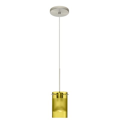 Scope 1-Light Mini Pendant Bulb Type: Halogen, Finish: Satin Nickel, Shade Color: Olive/Frost