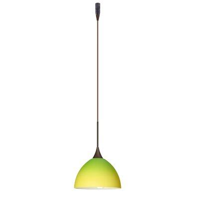 Brella 1 Light Mini Pendant Finish: Bronze, Glass Shade: Bicolor Green/Yellow