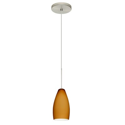 Karli 1-Light Mini Pendant Bulb Type: LED, Finish: Satin Nickel, Shade Color: Amber Matte