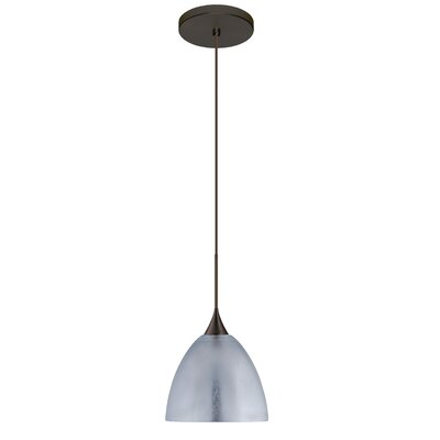 Sasha 1 LED Integrated Bulb Mini Pendant Finish: Bronze, Shade Color: Silver Foil, Bulb Type: LED