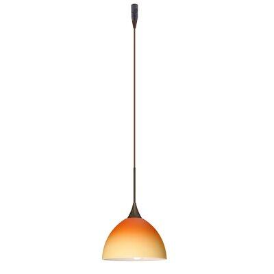Brella 1 Light Mini Pendant Finish: Bronze, Glass Shade: Bicolor Orange/Pina