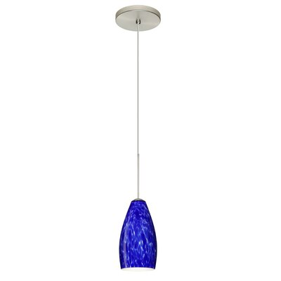 Karli 1 Integrated Bulb Mini Pendant Finish: Satin Nickel, Shade Color: Blue Cloud, Bulb Type: LED