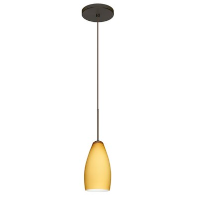Karli 1-Light Mini Pendant Finish: Bronze, Bulb Type: Halogen, Shade Color: Vanilla Matte