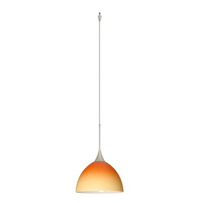 Brella 1 Light Mini Pendant Finish: Satin Nickel, Glass Shade: Bicolor Orange/Pina