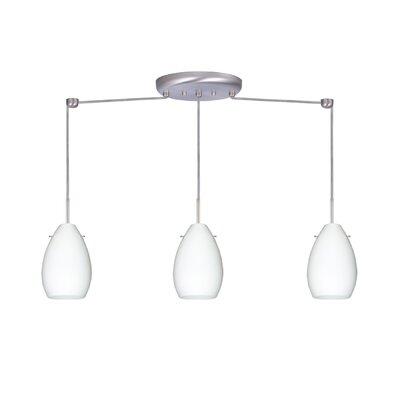Pera 3 Light Mini Pendant Bulb Type: Incandescent, Finish: Satin Nickel, Glass Shade: Opal Matte
