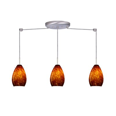 Pera 3 Light Mini Pendant Bulb Type: Incandescent, Finish: Satin Nickel, Glass Shade: Amber Cloud