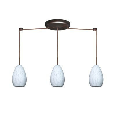 Pera 3 Light Mini Pendant Bulb Type: Incandescent, Finish: Bronze, Glass Shade: Opal Matte