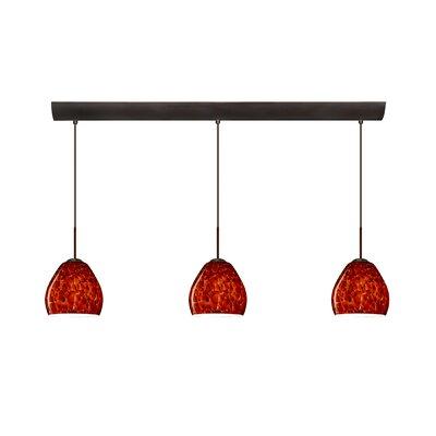Bolla 3 Light Mini Pendant with Bar Canopy Finish: Bronze, Glass Shade: Garnet, Bulb Type: Halogen
