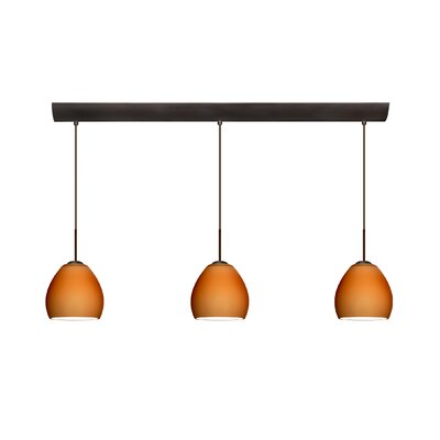 Bolla 3 Light Mini Pendant with Bar Canopy Finish: Bronze, Glass Shade: Amber Matte, Bulb Type: Halogen