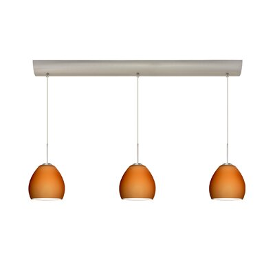 Bolla 3 Light Mini Pendant with Bar Canopy Finish: Satin Nickel, Glass Shade: Amber Matte, Bulb Type: Halogen
