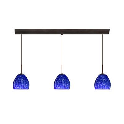 Bolla 3 Light Mini Pendant with Bar Canopy Finish: Bronze, Glass Shade: Blue Cloud, Bulb Type: Halogen