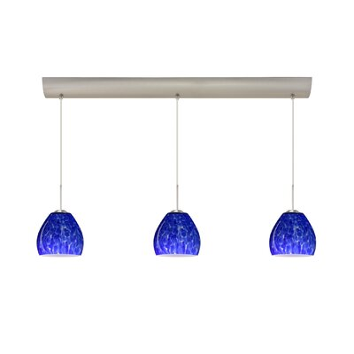 Bolla 3 Light Mini Pendant with Bar Canopy Finish: Satin Nickel, Glass Shade: Blue Cloud, Bulb Type: Incandescent or Xenon