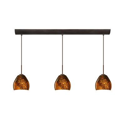 Bolla 3 Light Mini Pendant with Bar Canopy Finish: Bronze, Glass Shade: Ceylon, Bulb Type: Halogen