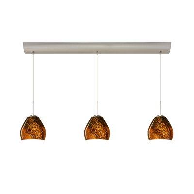 Bolla 3 Light Mini Pendant with Bar Canopy Finish: Satin Nickel, Glass Shade: Ceylon, Bulb Type: Halogen
