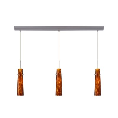 Camino 3 Light Pendant with Bar Canopy Finish: Satin Nickel, Glass Shade: Amber Cloud, Bulb Type: Halogen