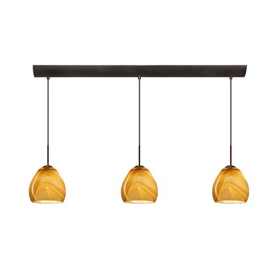 Bolla 3 Light Mini Pendant with Bar Canopy Finish: Bronze, Glass Shade: Honey, Bulb Type: Halogen