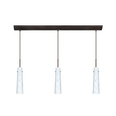Camino 3 Light Pendant with Bar Canopy Finish: Bronze, Glass Shade: Carrera, Bulb Type: Incandescent or Xenon