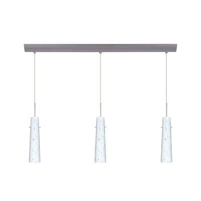 Camino 3 Light Pendant with Bar Canopy Finish: Satin Nickel, Glass Shade: Carrera, Bulb Type: Incandescent or Xenon